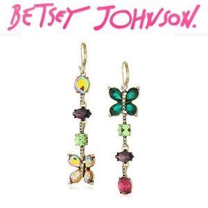 Betsey Johnson Butterfly Mismatch Linear Earrings